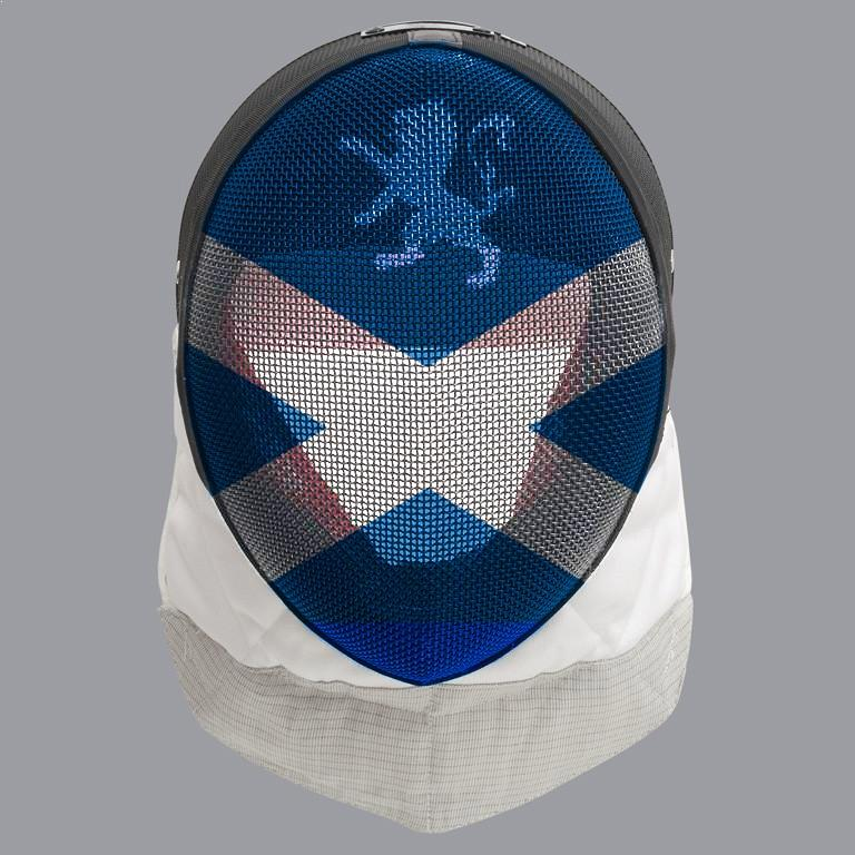 Scottish fencing mask design: white closs on blue mask with white Lion Rampant above it