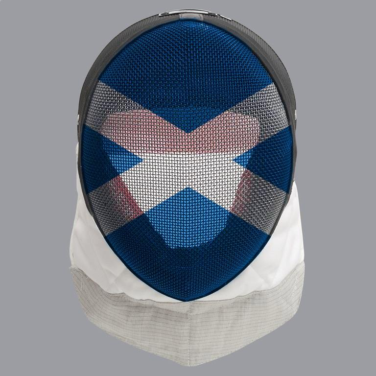 Scottish fencing mask design: white cross on blue mask