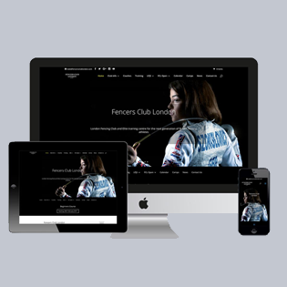 Fencers Club London website presented on Mac, iPad and iPhone