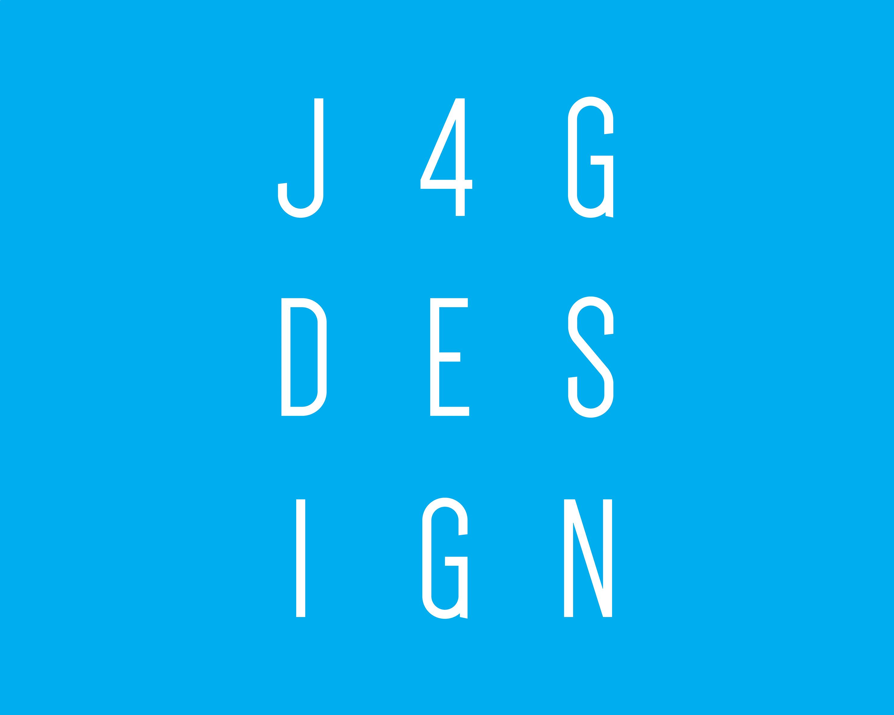 J4G Design logo: white capital wording on a blue background, three letters on each lines