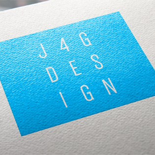J4G Design logo: white capital wording on a blue background, three letters on each line
