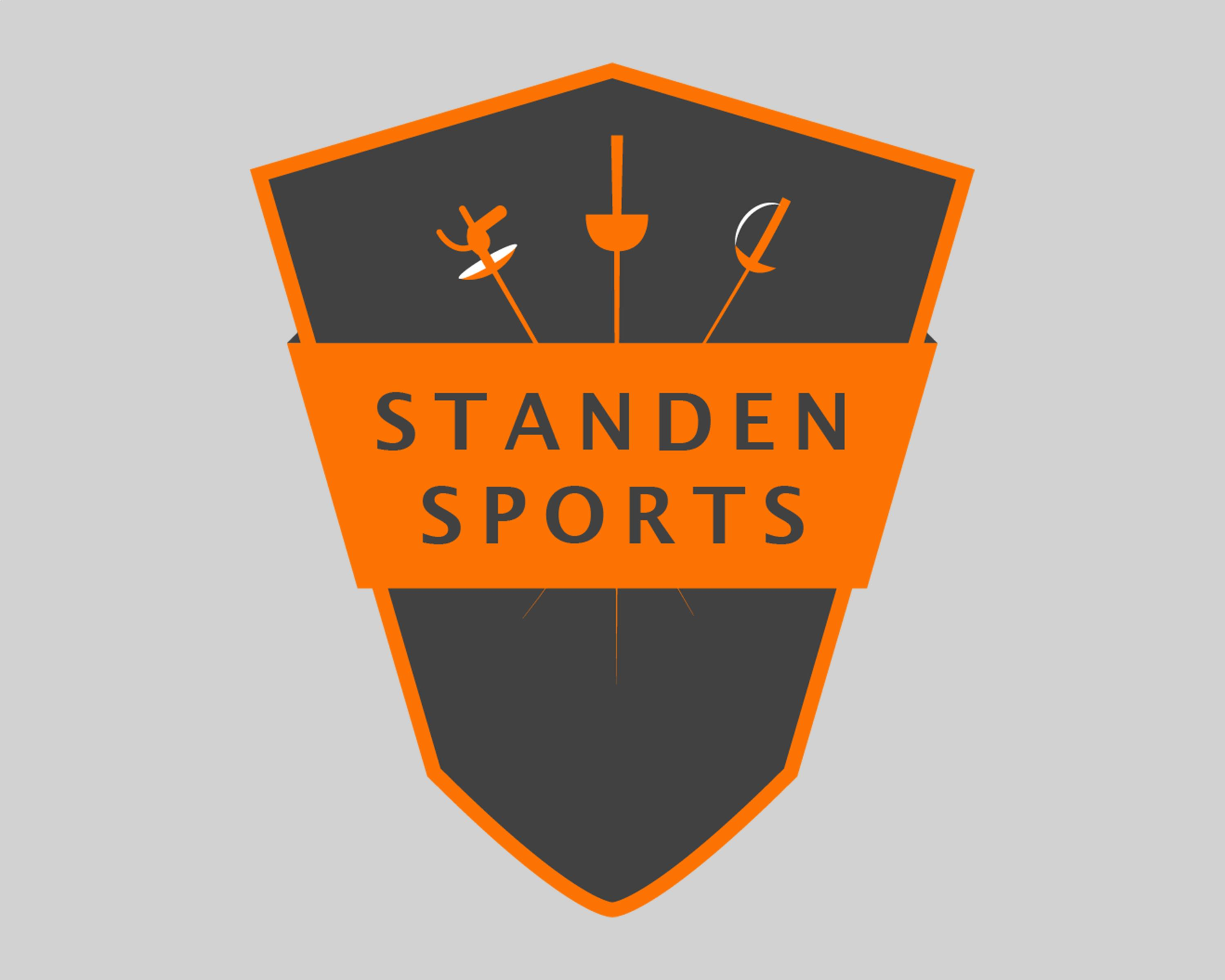 Standen Sports Ltd logo: an orange shield with a dark grey background with three fencing swords crossed pointing down