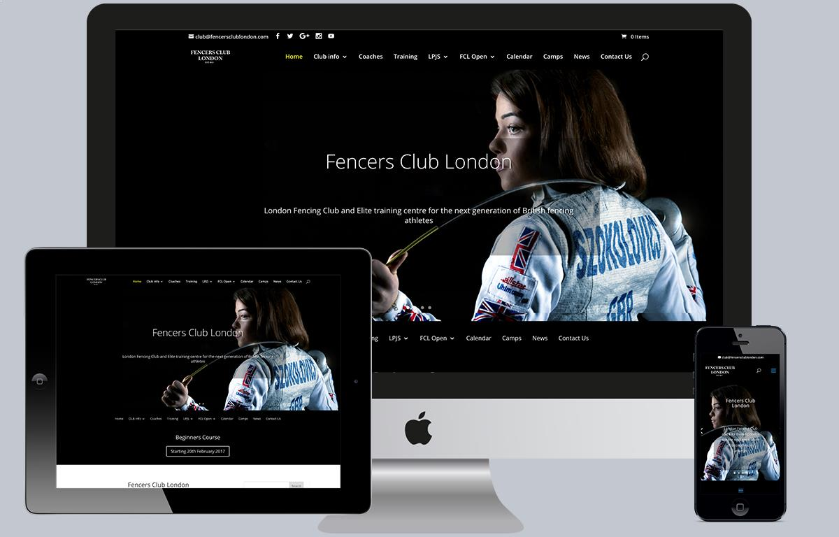 Fencers Club London website displayed on an iPhone, iPad and iMac