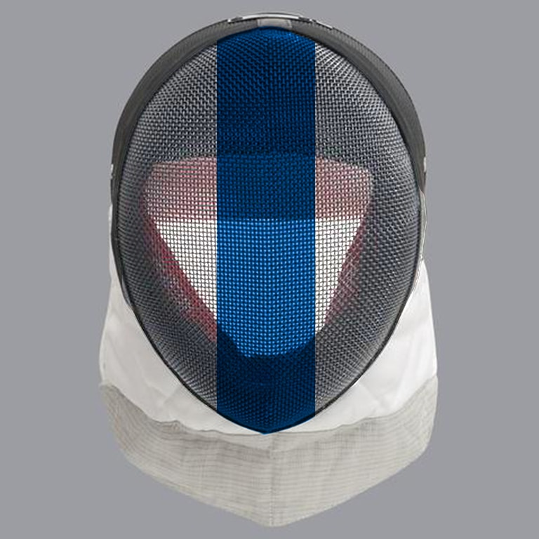 Scottish fencing mask design: blue stripe on white mask