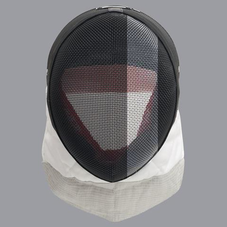 Scottish fencing mask design: grey stripe on black mask
