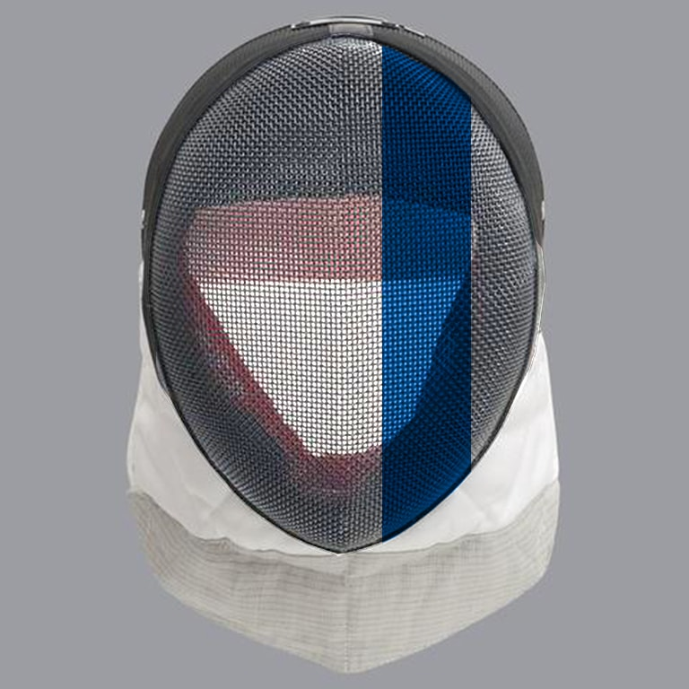 Scottish fencing mask design: blue offset stripe on white mask