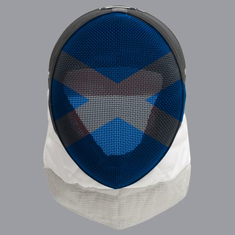 Scottish fencing mask design: grey cross on blue mask