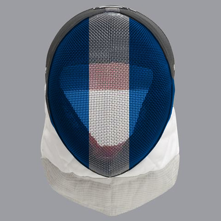 Scottish fencing mask design: white stripe on blue mask